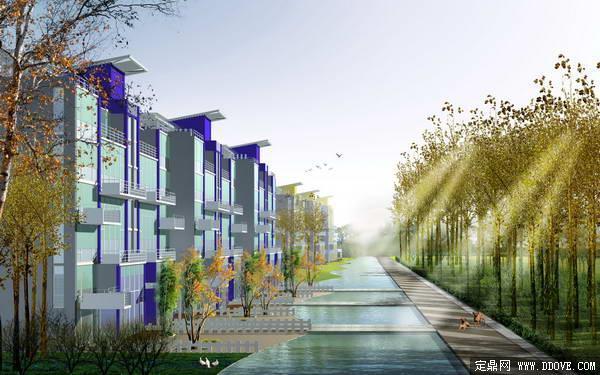 连排别墅建筑景观设计方案效果图 psd分层模板素材