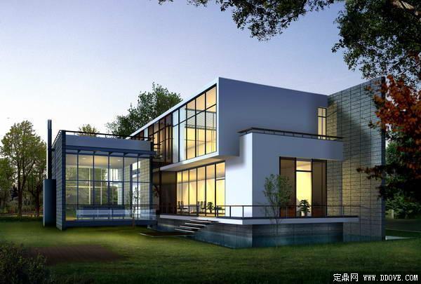 现代高档别墅建筑局部透视效果图——psd分层模板素材