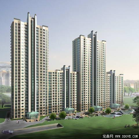 连排高层住宅 小区 建筑景观 效果图 psd分层模