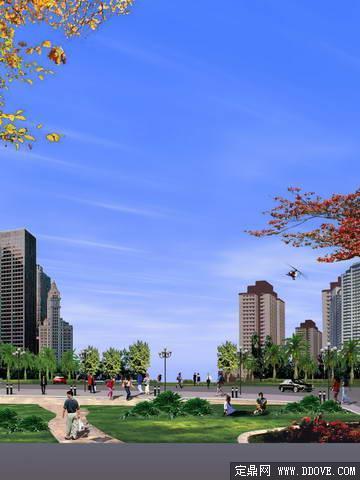 高档住宅小区休闲小广场景观设计方案效果图 PSD分层模板素材