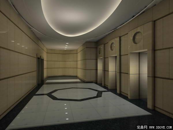 档高层住宅小区电梯厅室内装饰方案效果图3DMAX模型文件加PSD