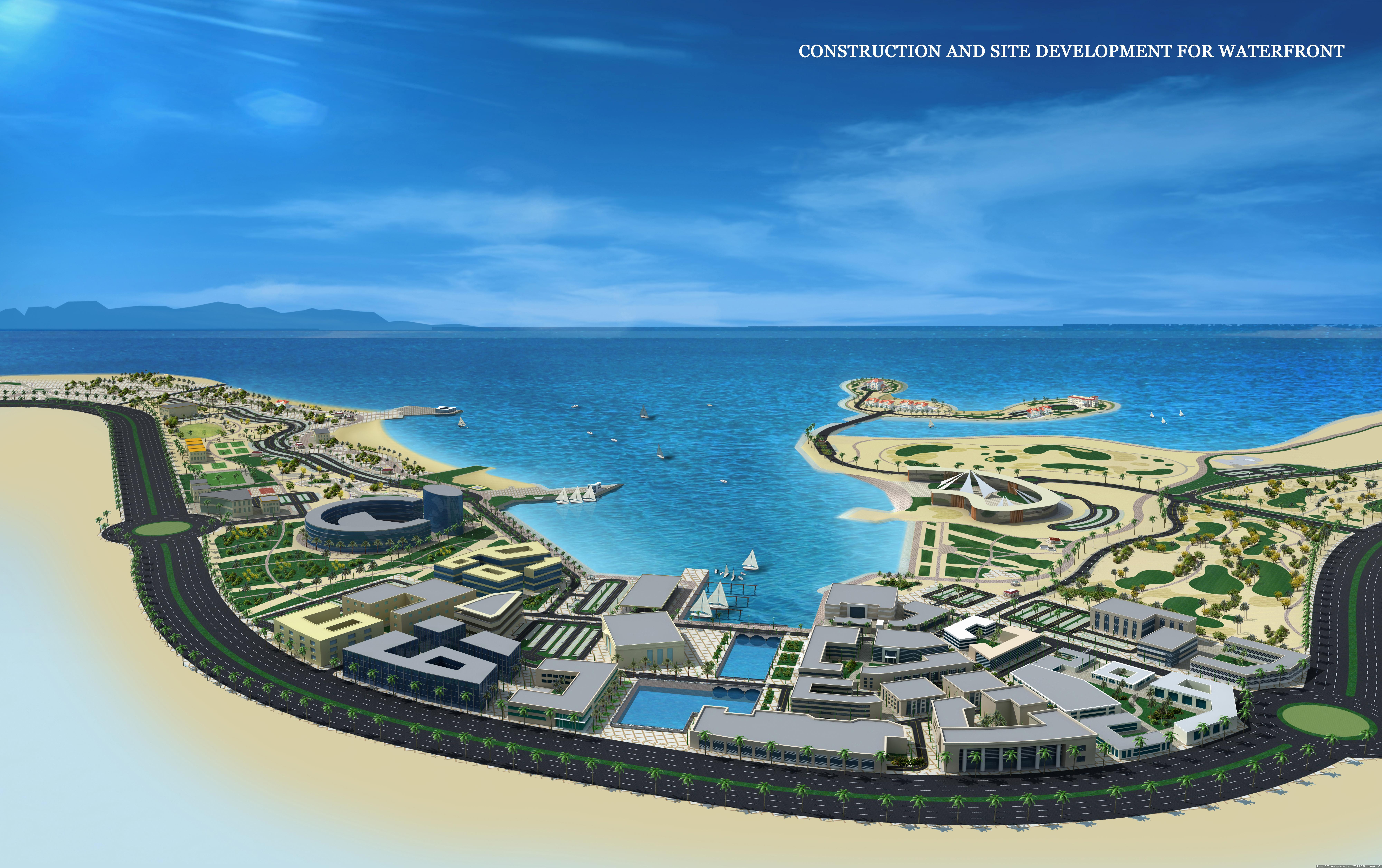沙漠滨海城市鸟瞰效果图 高清图片