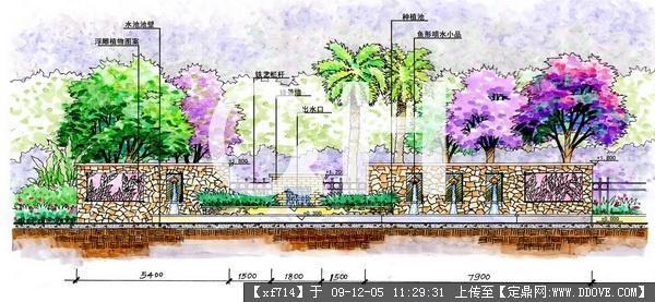 小区入口景观方案立面手绘效果图