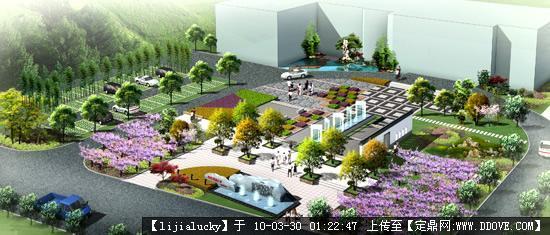 城市广场 园林设计,景观设计,园林施工,园林植物,景观图; 小广场鸟瞰