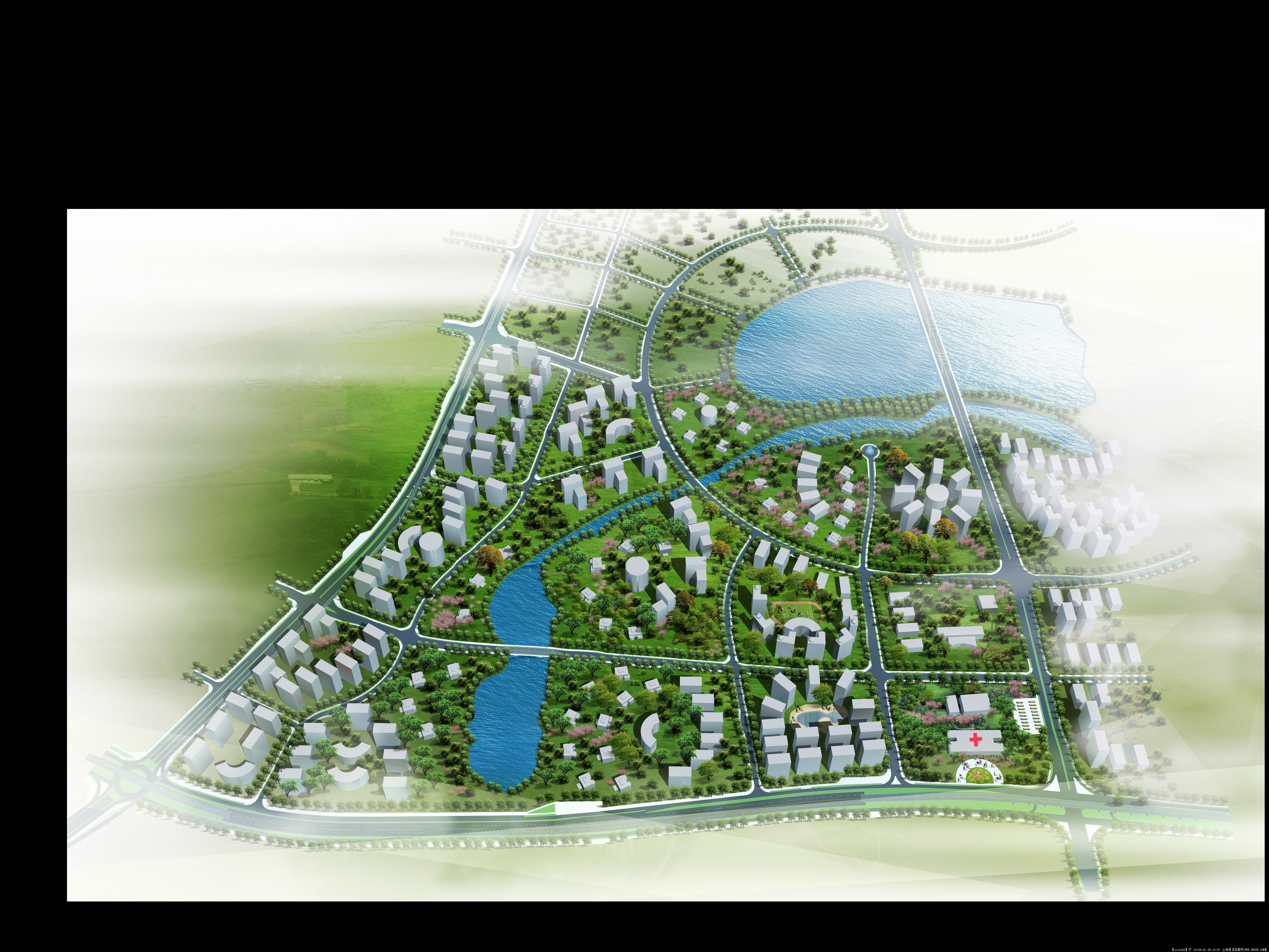 某居住区景观鸟瞰图;; 景观园林鸟瞰图景观园林手绘效果图中式景观