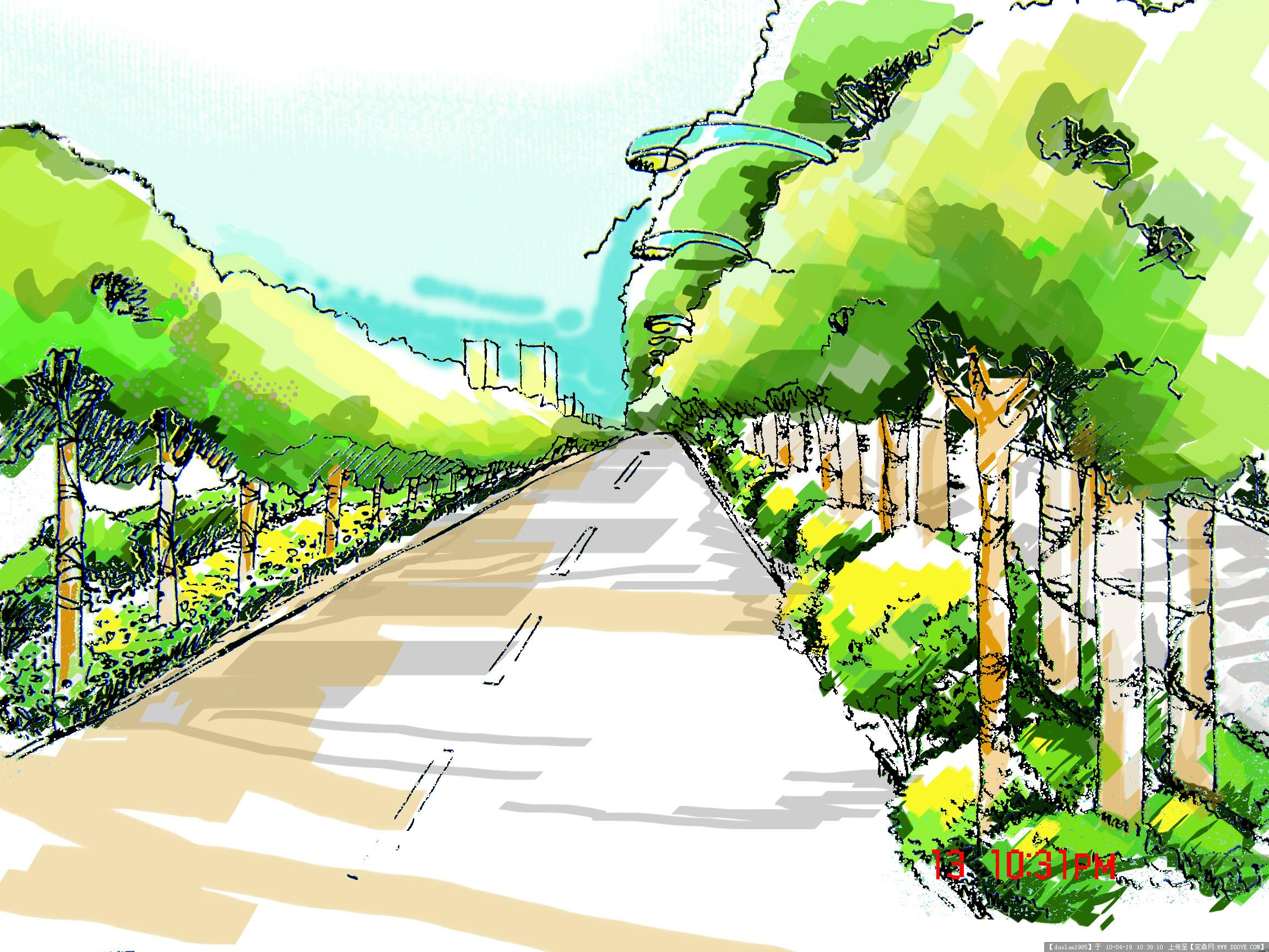 道路绿化局部手绘效果图