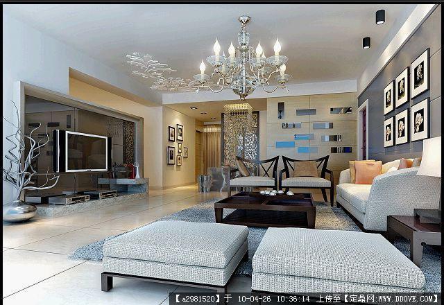 室内效果图,住宅样板,室内装饰设计施工图纸资料下载 定鼎室
