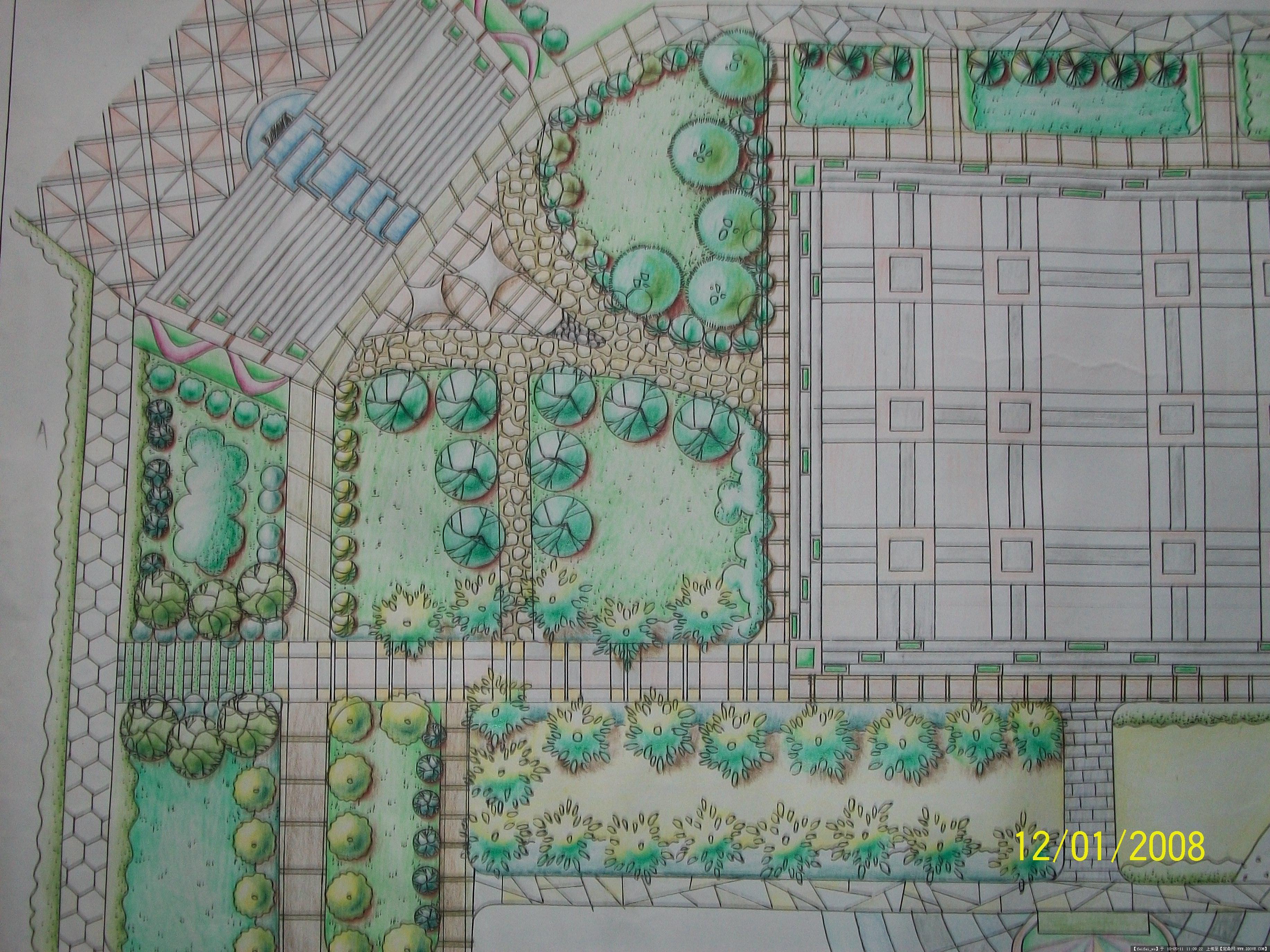 规划设计作业-广场平面图-手绘-某休闲小广场景观设计psd平面图图片