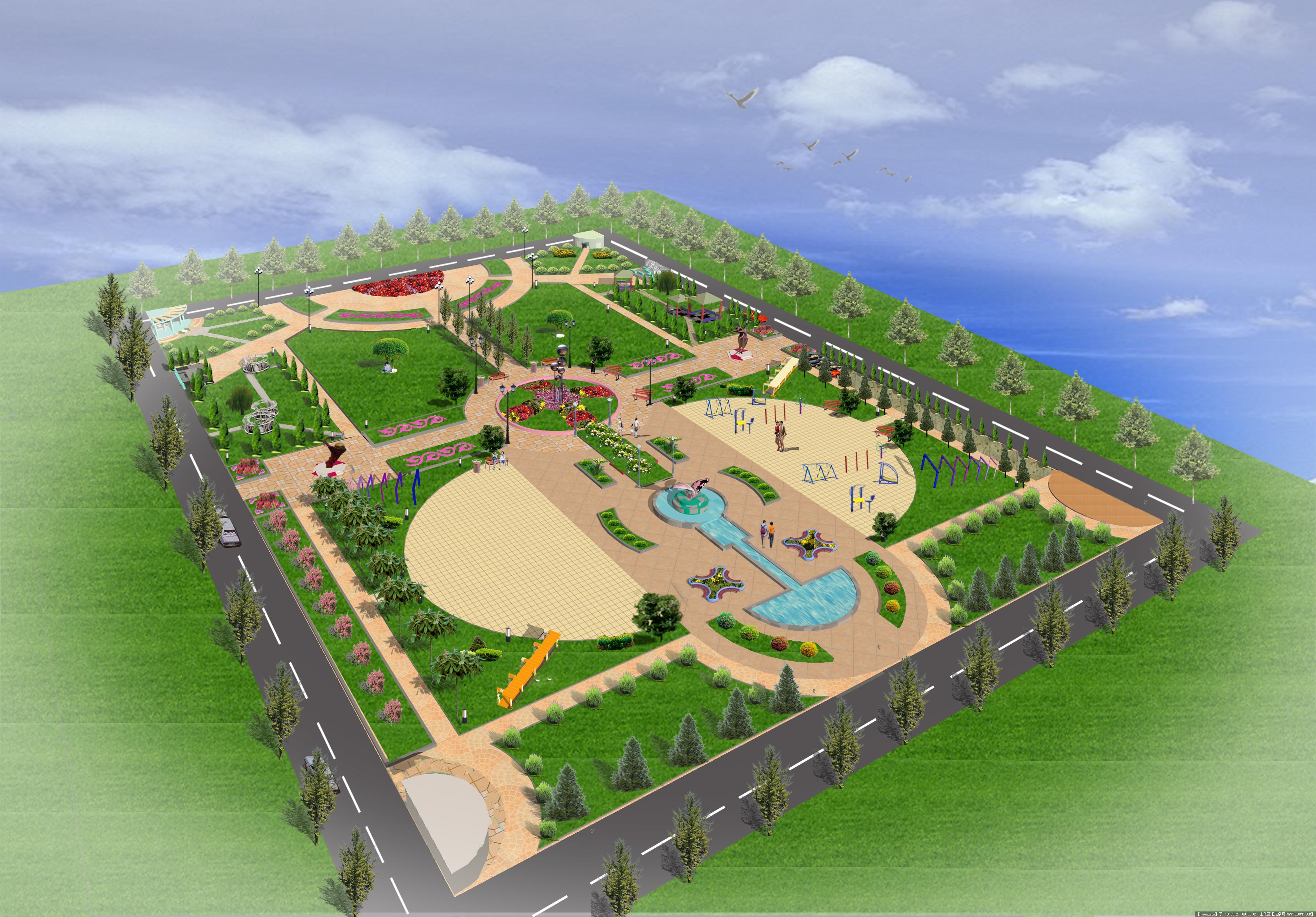 某校园广场平面效果图的图片浏览,园林方案设计,校园