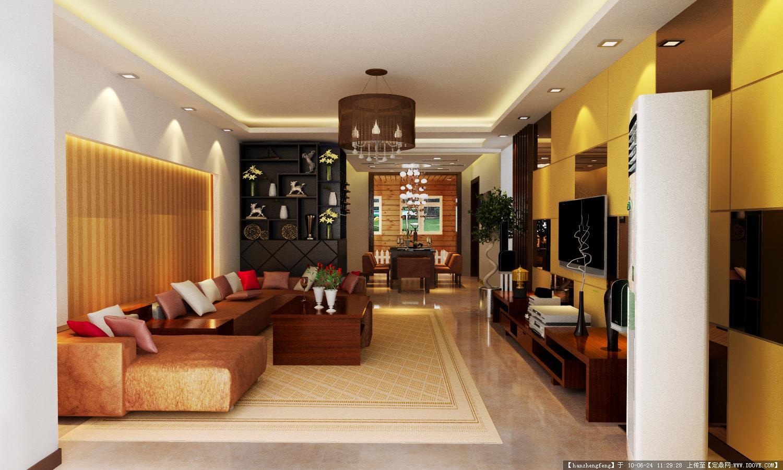 简约大气的客厅和餐厅效果图