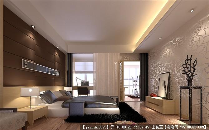 主臥效果圖-帶軟包的臥室背景墻