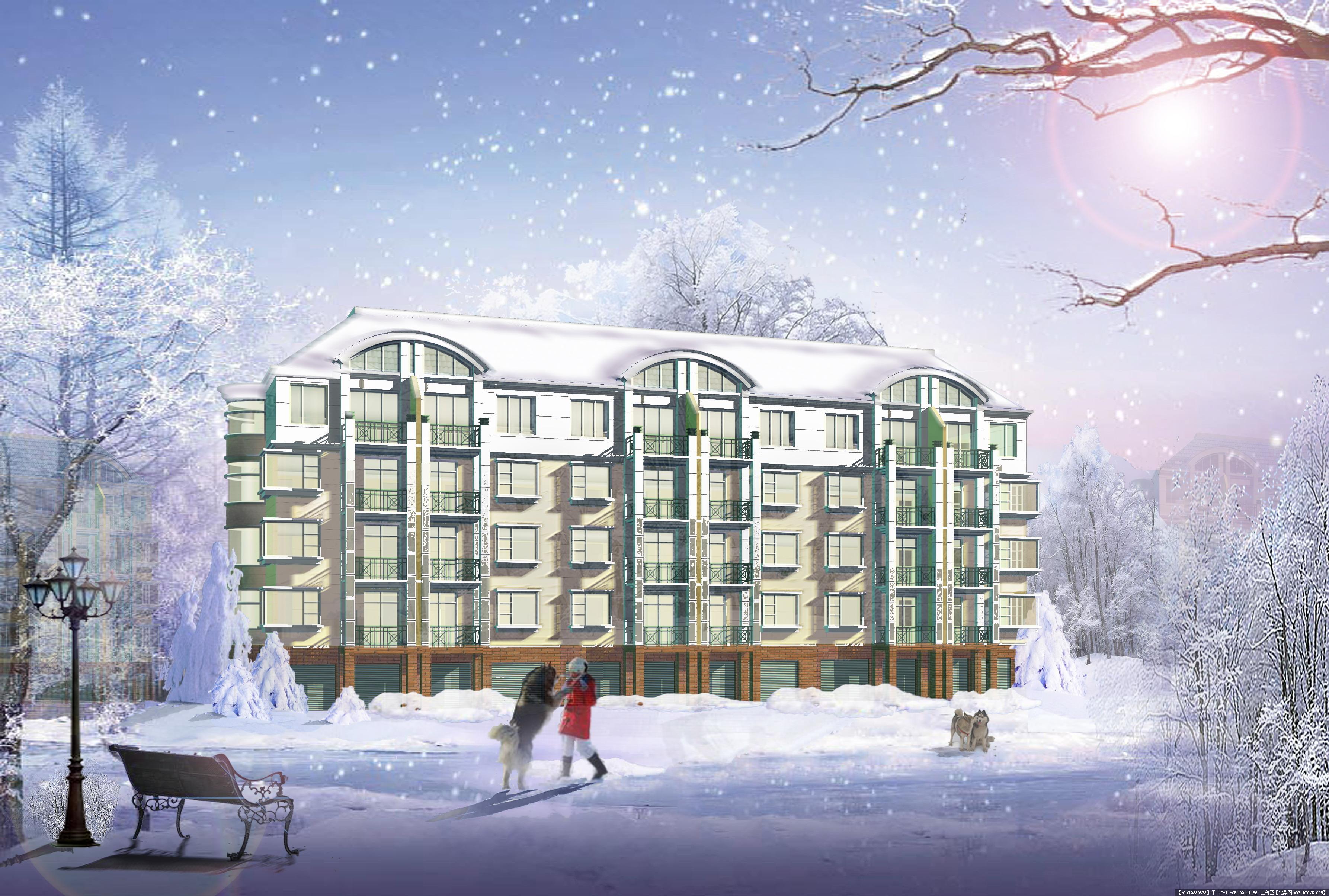雪景建筑3d效果图