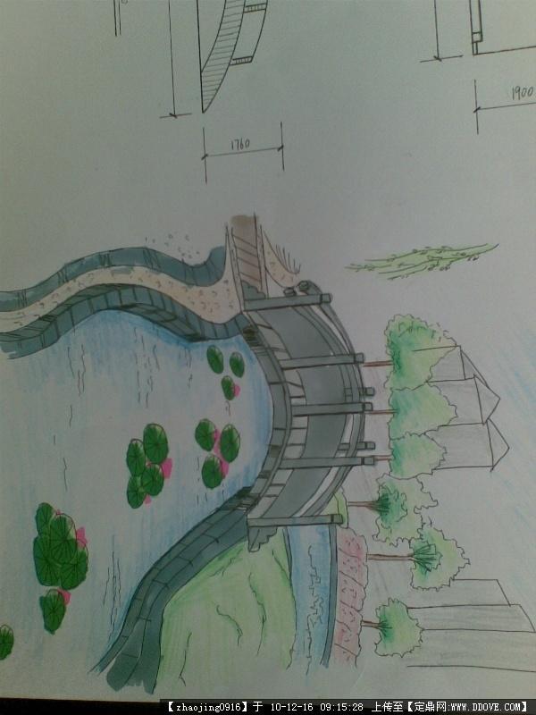 公园景观手绘平面图 设计图,jpg] 公园手绘效果图; 公园小桥水景效果