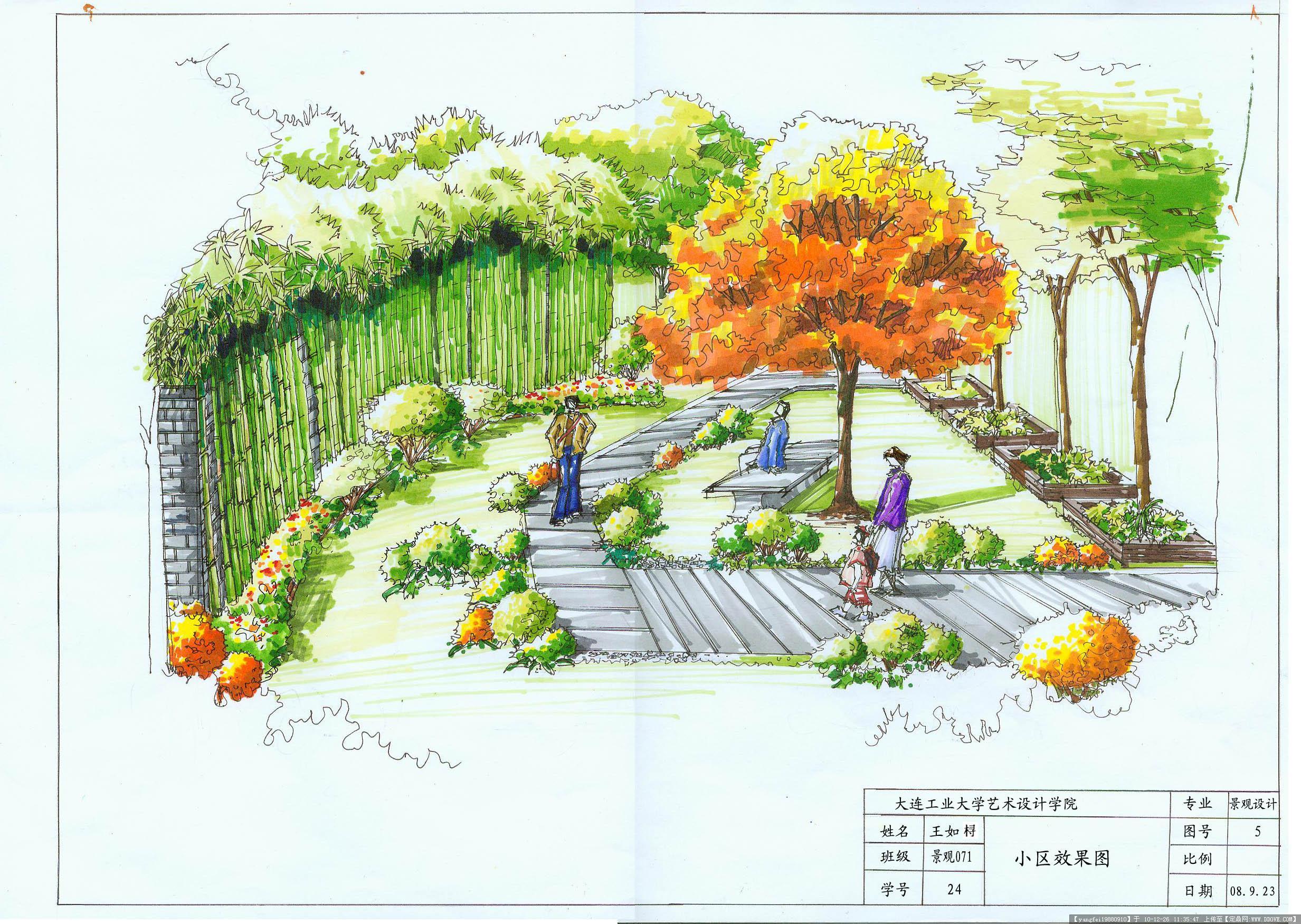 手绘效果 小区局部景观园林效果图(道路