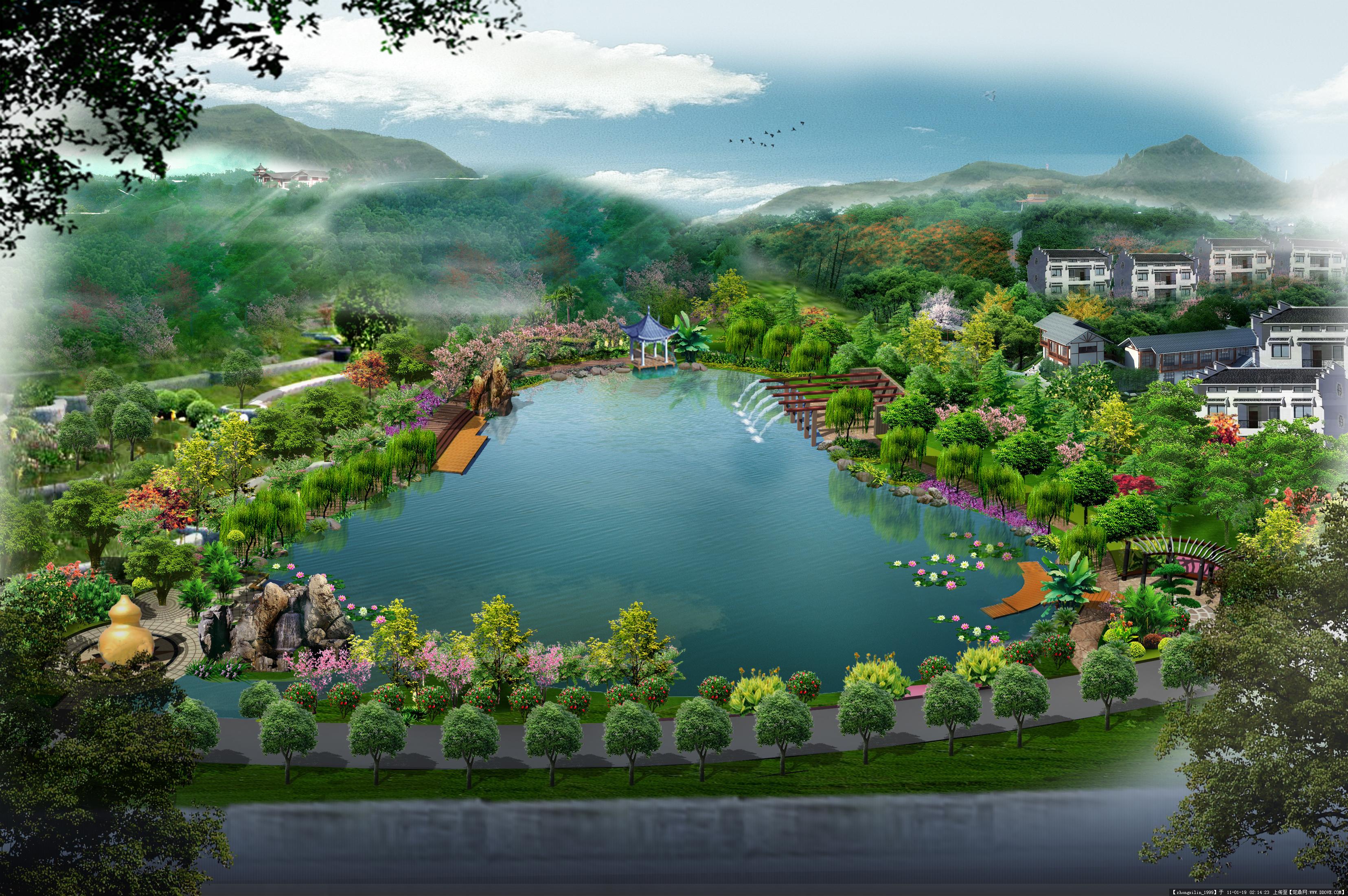 葫芦水体园林景观鸟瞰图