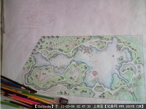 植物园中的水景园-手绘水景园平面效果图