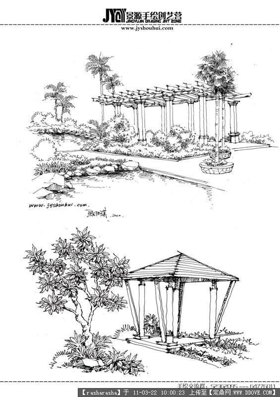 手绘图片-建筑小品