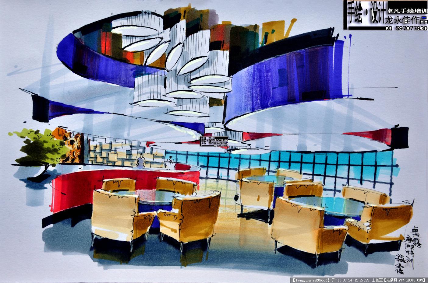 手绘效果图一张的图片浏览,室内效果图,酒店会所,室内