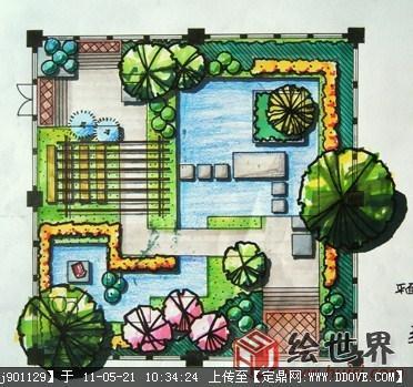 花园手绘平面效果图