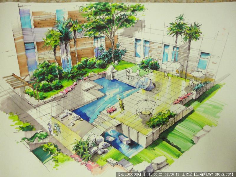 花园手绘效果图的图片浏览,园林效果图,花园庭院,园林
