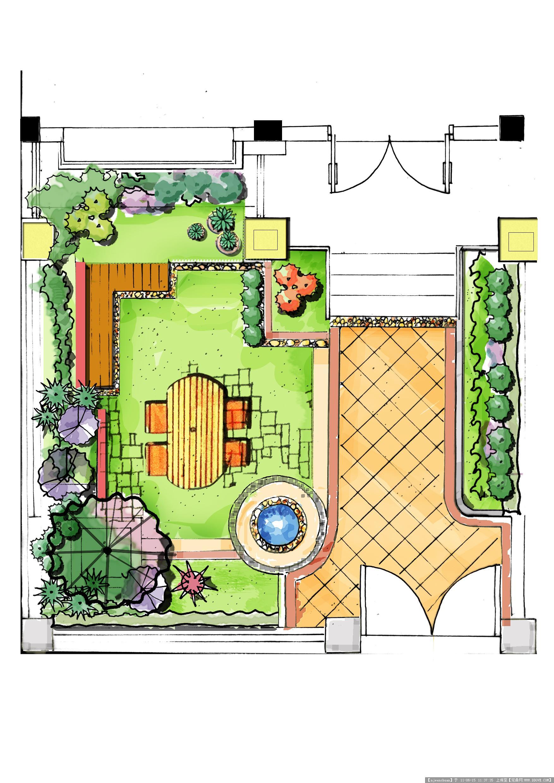 欧式庭院手绘效果图; 景观手绘彩平图; 庭院手绘效果图