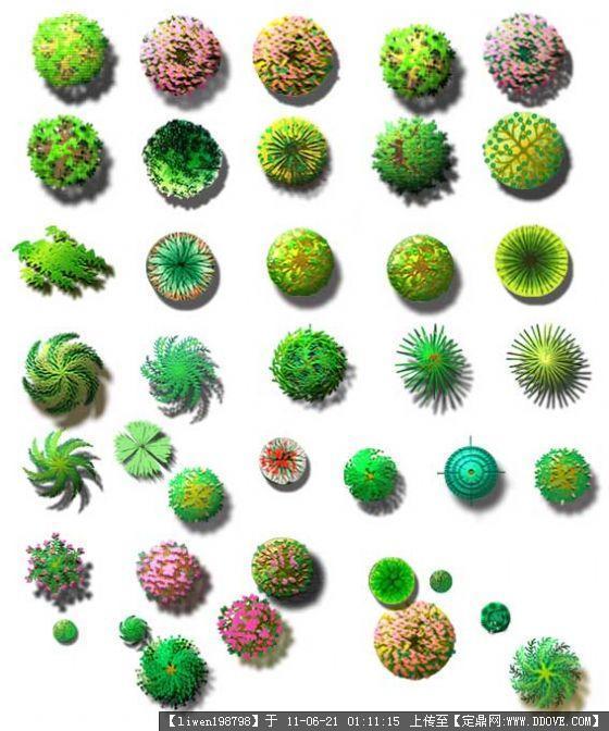 植物psd; ps植物平面图标(); 彩平素材_室内彩平素材_景观彩平素材
