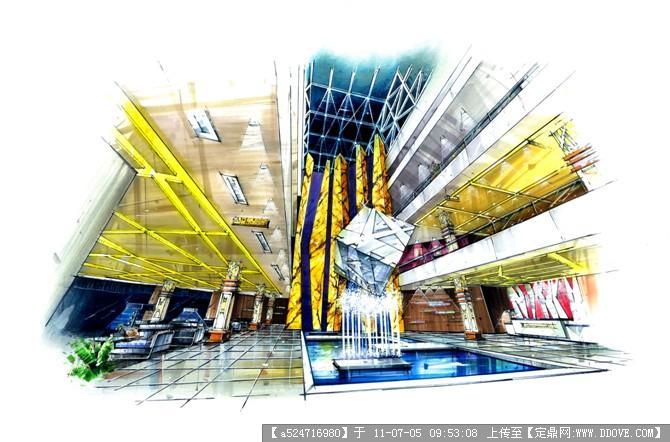 酒店大堂手绘效果图的图片浏览,室内效果图,酒店会所