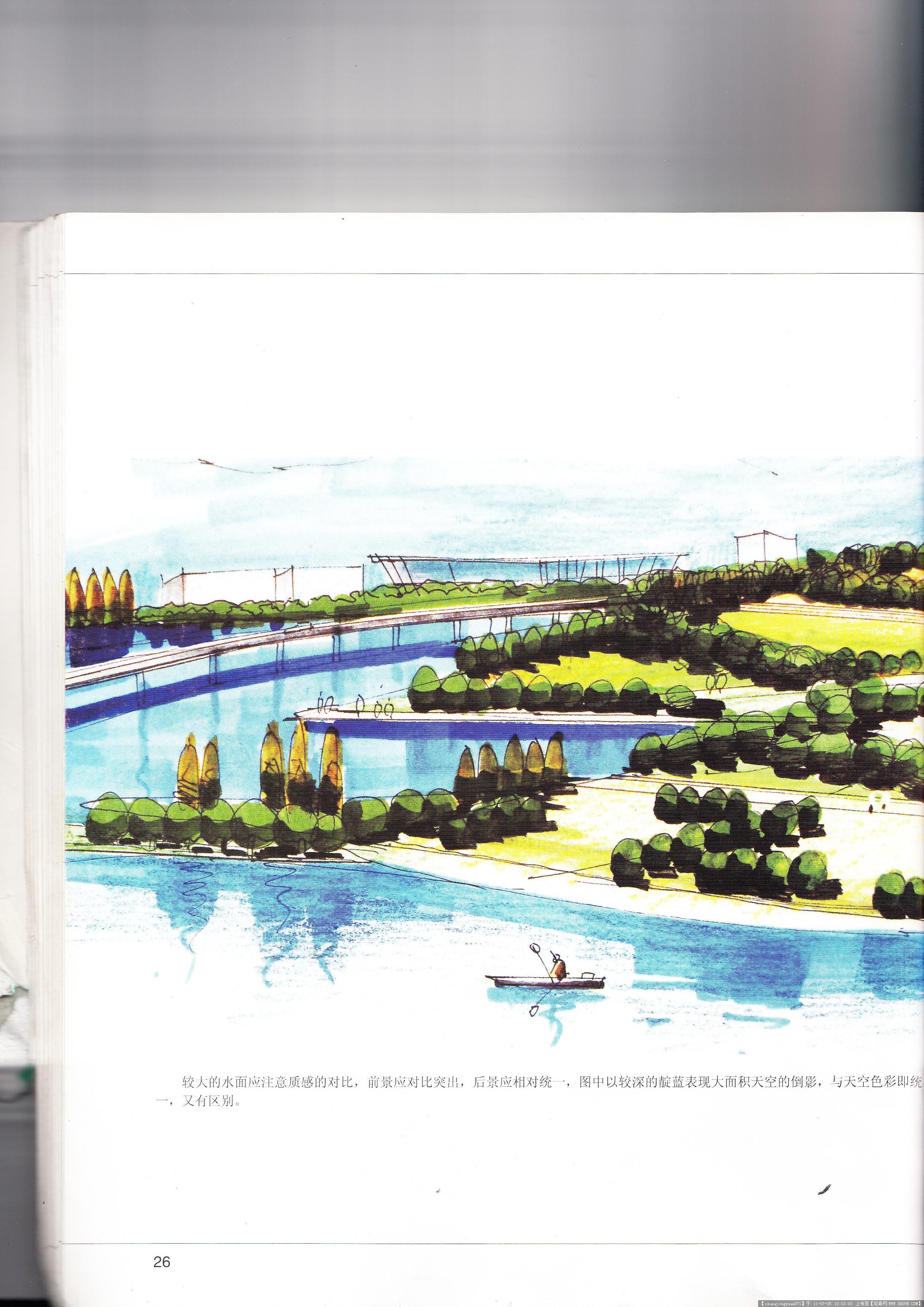 滨水手绘效果图的图片浏览,园林效果图,滨水景观,园林景观设